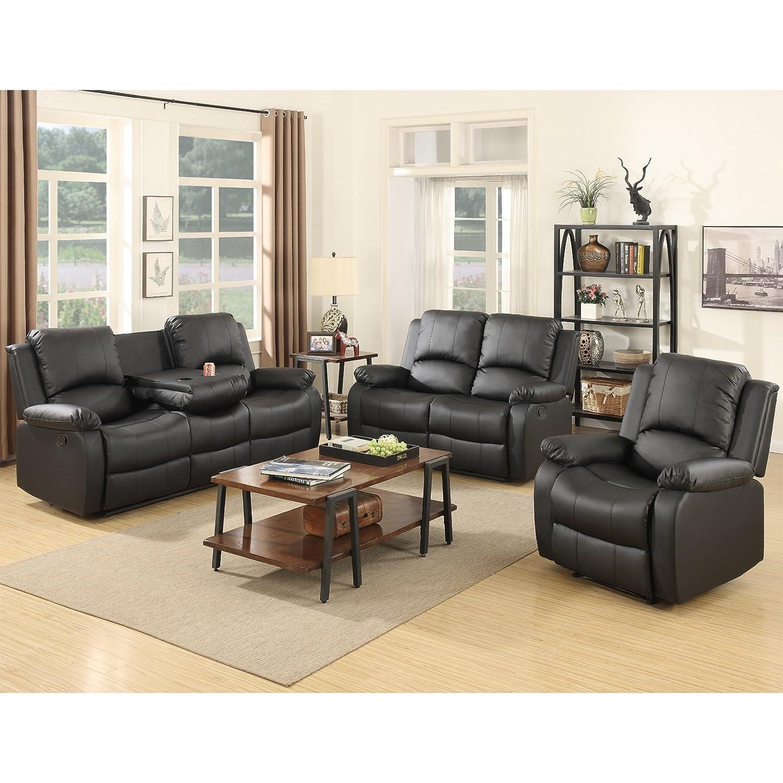 Amazon Holi us 3 piece Bonded Leather Recliner Sofa Sofa set&