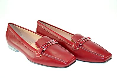 032ec0e8aac Image Unavailable. Image not available for. Color  Tod s Women s Cecile  Masch Smaltata Moc. Dark Red Leather Loafers ...