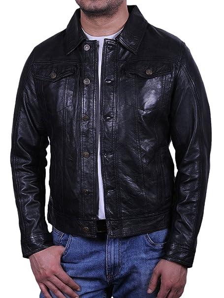 Brandslock De cuero para hombre de la vendimia bombardero chaqueta de motociclista: Amazon.es: Ropa y accesorios