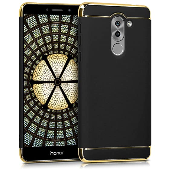 buy online 60624 e8abc kwmobile Case for Huawei Honor 6X / GR5 2017 / Mate 9 Lite - Shockproof  Protective Hard Case Back Cover with Chrome Frame - Black/Gold