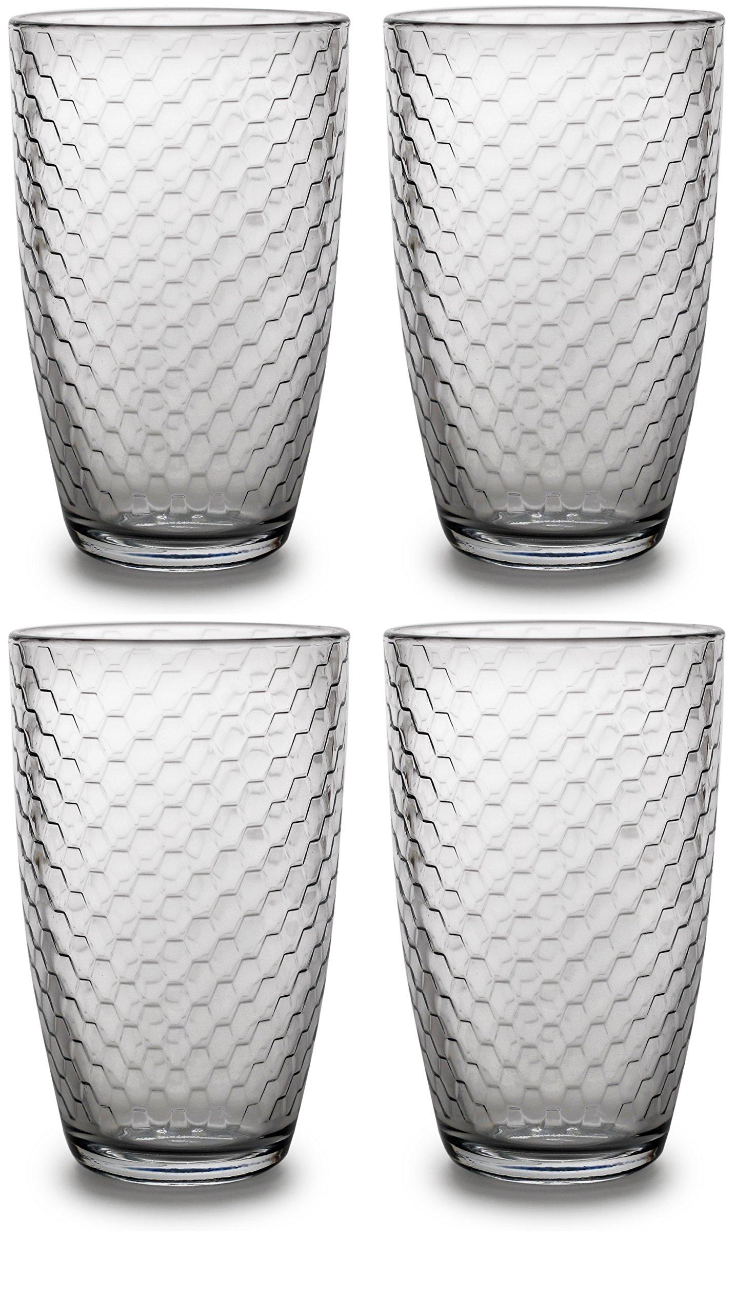 Circleware Hive Drinking Glasses Set of 4, 16 ounce, Hive Editon