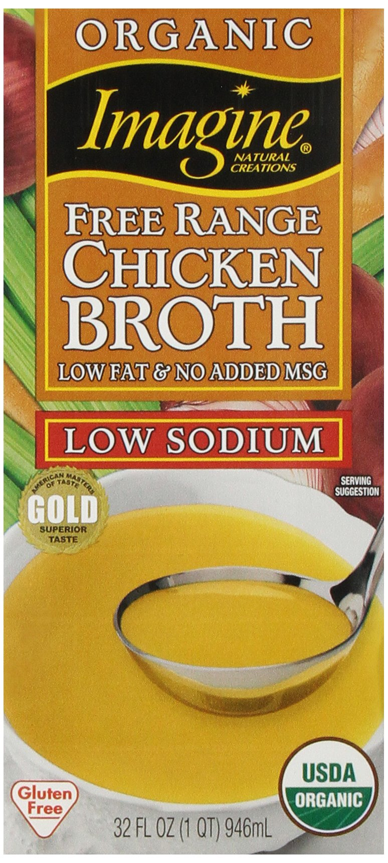 Imagine Free Range Chicken Broth, Organic, Low Sodium, 32 oz by Imagine Foods