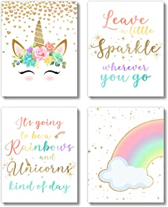 Brooke & Vine Unicorn Rainbow Girls Room Wall Decor Art Prints - (UNFRAMED 8 x 10) - Inspirational Kids Children's Tween Posters for Home, Birthday Party, Bedroom, Bathroom, Playroom, Desk (Unicorn Rainbow)