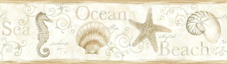 Chesapeake Dlr53563b Island Bay Beige Seashells Wallpaper Border