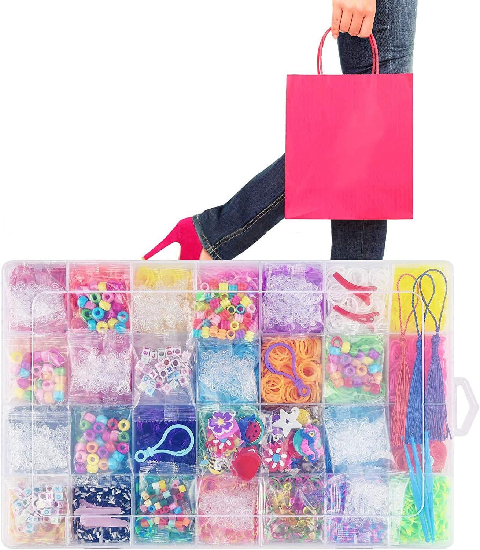 Rainbow Loom Bands Starter Set Bracelet Mega Refill Kit for Girls Gift Queta DIY Rubber Bands for Bracelets Kit
