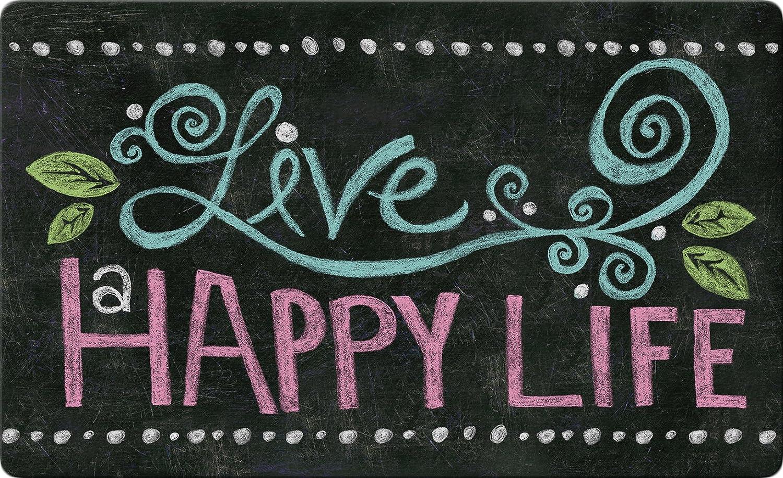 Toland Home Garden Happy Life Chalkboard 18 x 30 Inch Decorative Floor Mat Inspirational Doormat