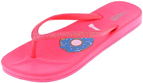 400ab08bc787f Capelli New York Ladies Glitter I Donut Care Flip Flops Neon Pink 6