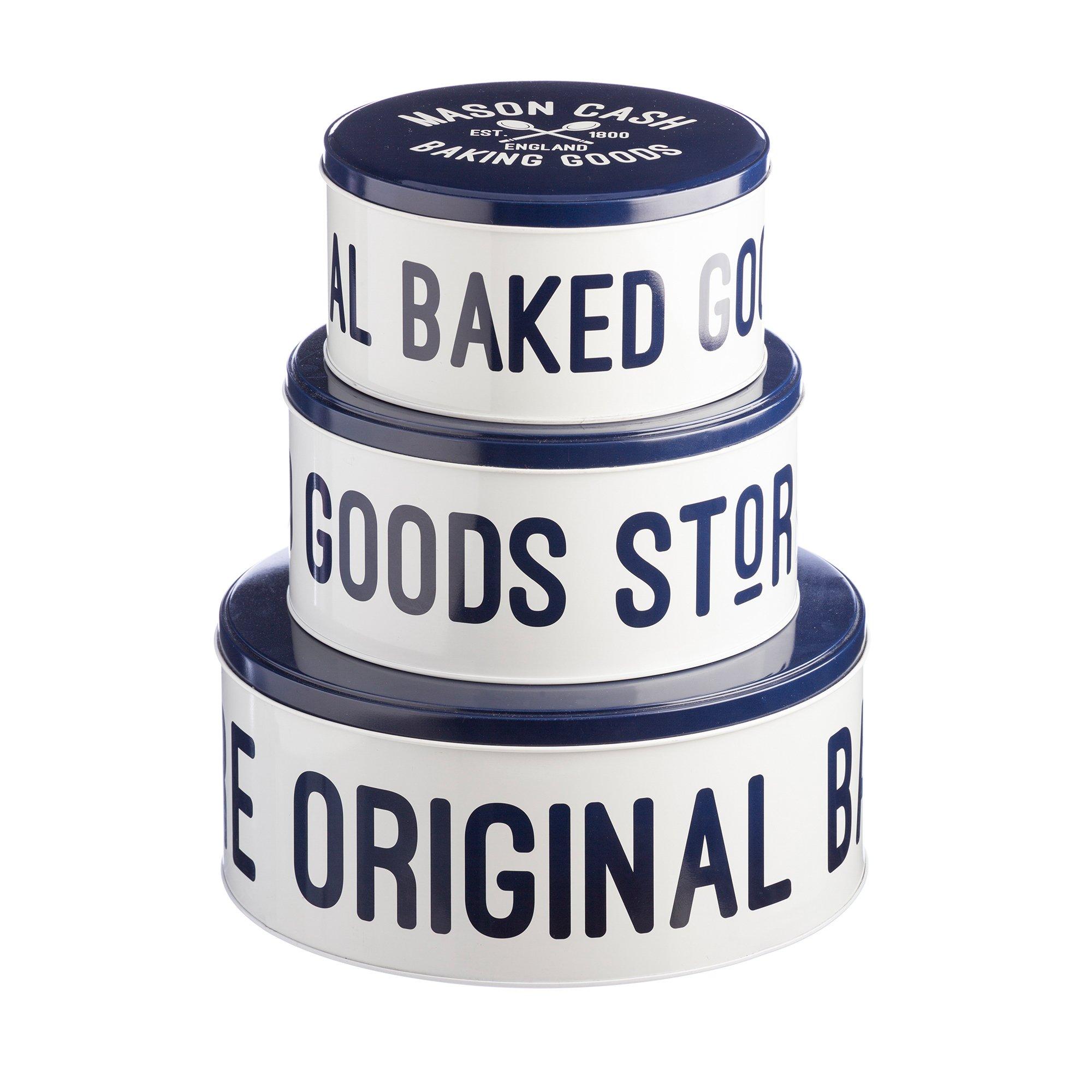 Mason Cash Varsity Cake Tins, Set of 3, Cream, Navy Blue