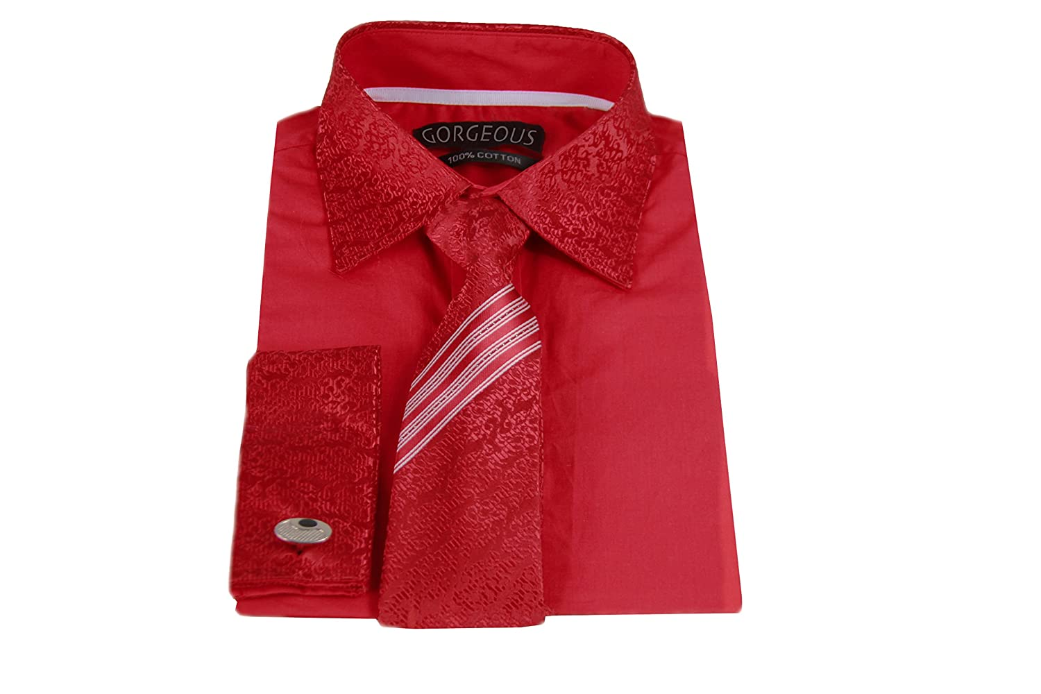 Boys Special Occasion Smart Patterned Shirt, Patterned Tie with Matching Cuffs & Cufflinks 100% Cotton