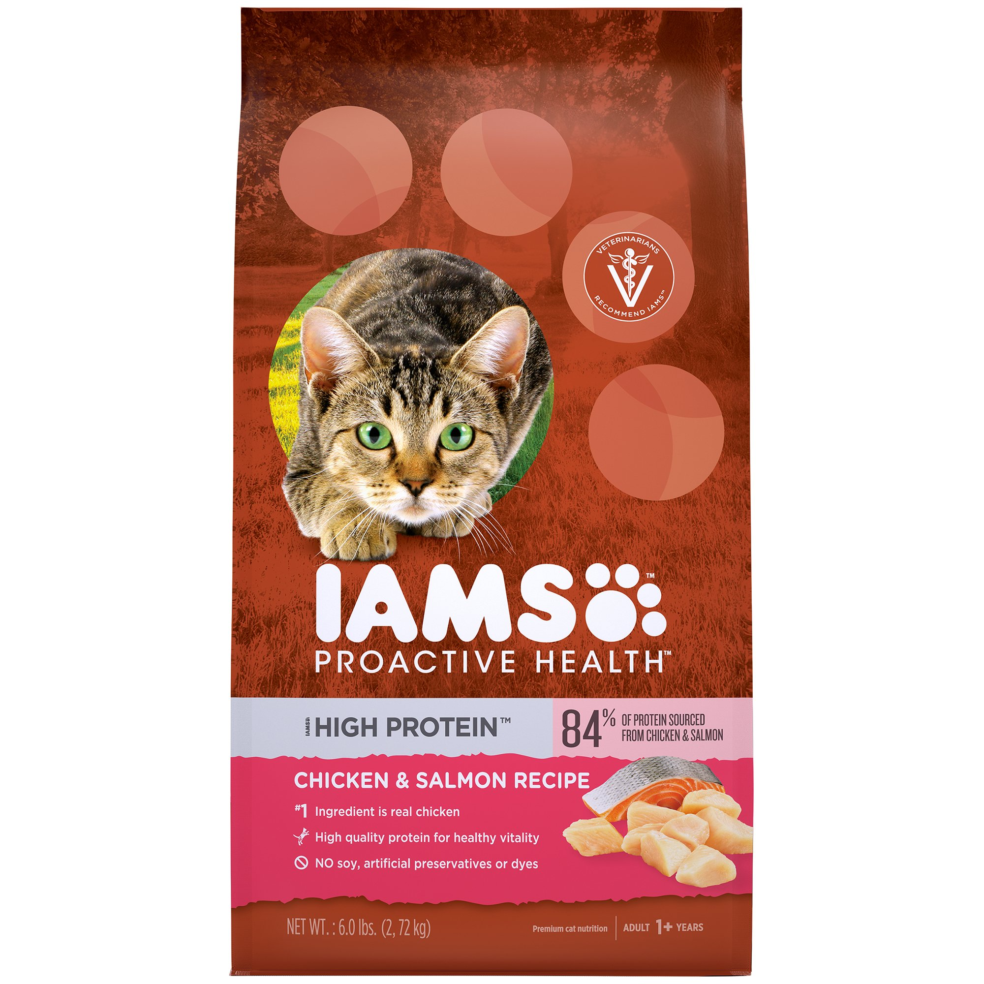 IAMS PROACTIVE HEALTH High Protein Adult Dry Cat Food with Chicken & Salmon, 6 Pound Bag