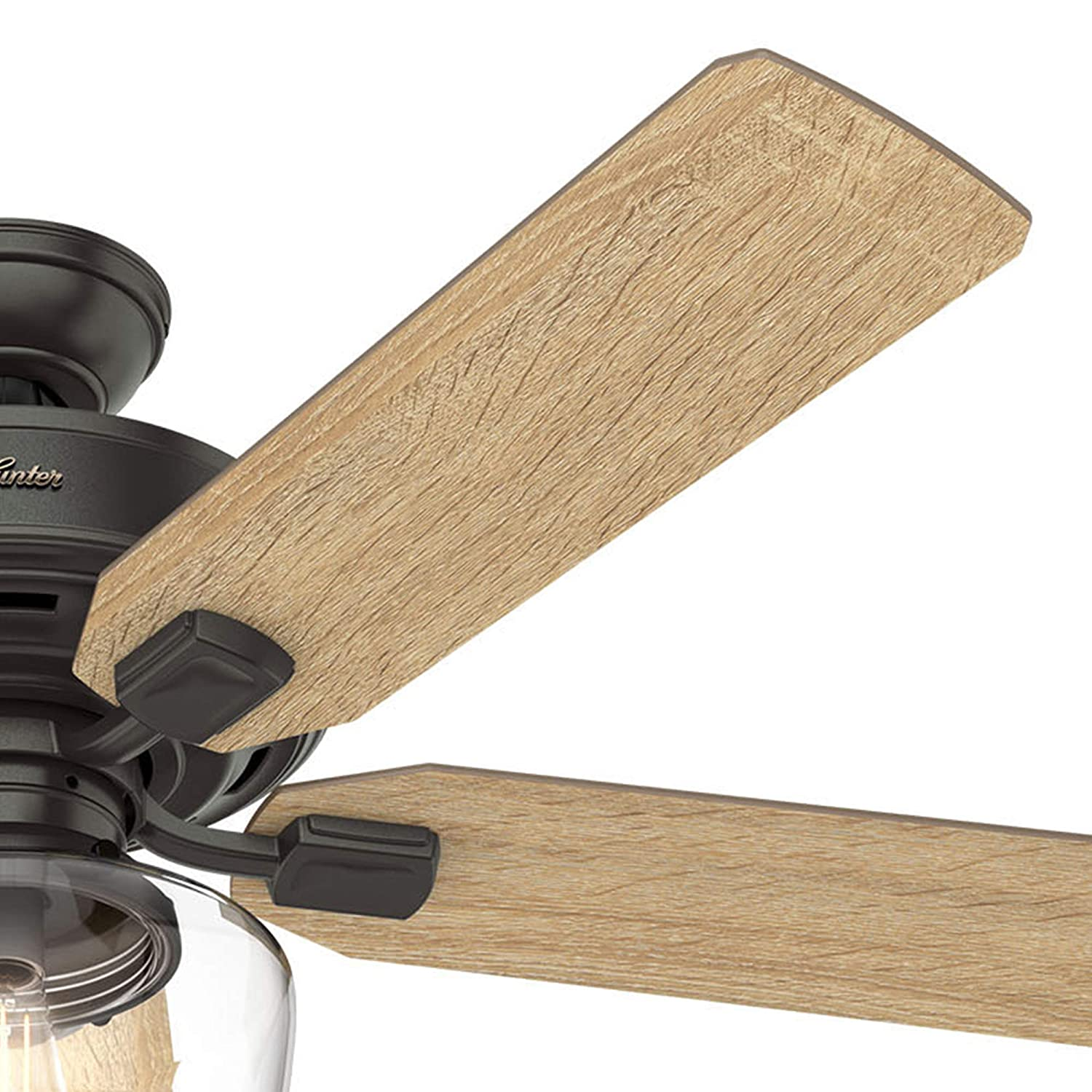 Hunter Fan 52 inch Casual Nobel Bronze Indoor Ceiling Fan with Light Kit and Remote Control Renewed