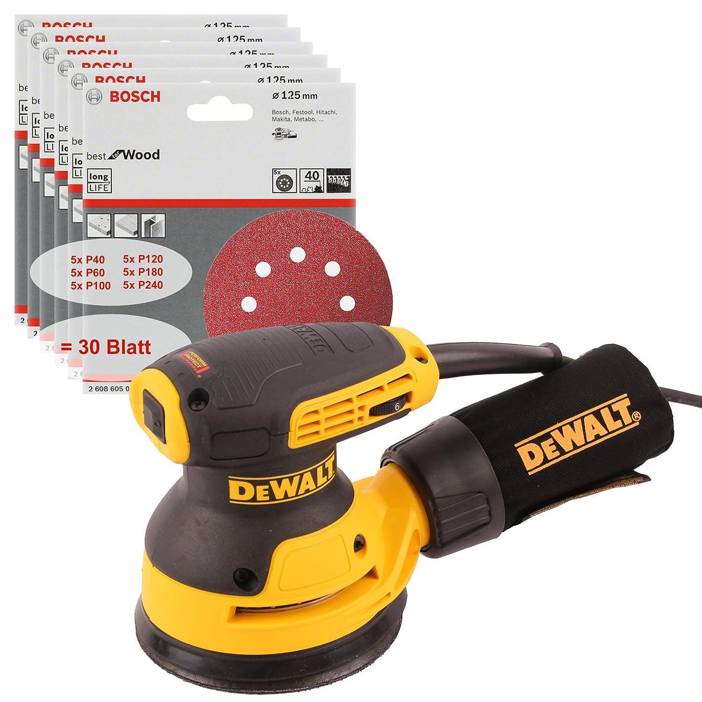 DeWALT Exzenterschleifer DWE6423-QS, 125mm, Klettfix-System, 280W, 230V + 30x Schleifpapier DeWalt Elektrowerkzeuge