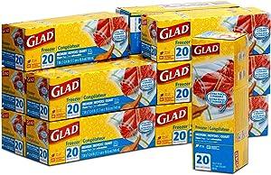 GLAD Medium Freezer Zipper Bags, Quart Size - 12 Pack x 20 Bags - 32 Fl Oz (7 x 7 3/4 Inches) Each