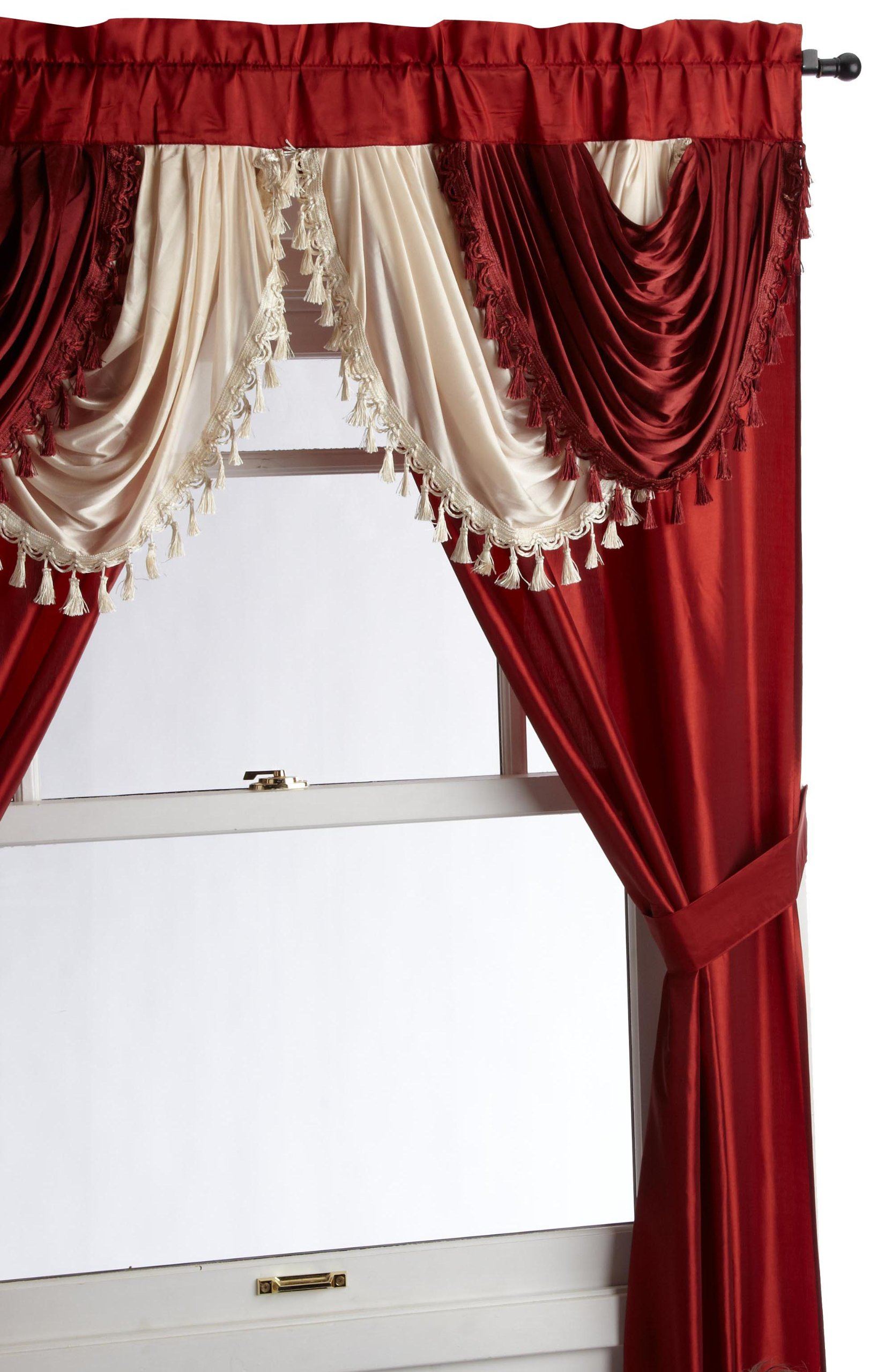Regal Home Collections Amore 54 84-Inch Luxurious 5PC Attached Valance, Brick Window Curtain Set by Regal Home Collections