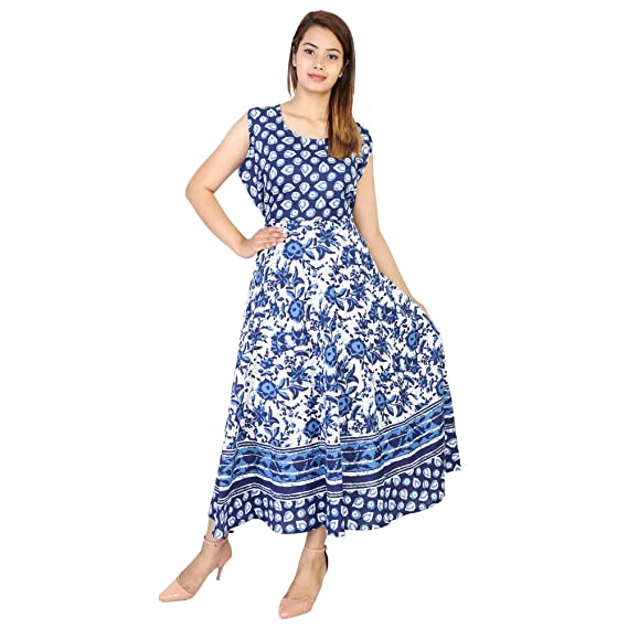 eb9b5094383 TheUrbanStreet 100% Cotton Indigo Blue Floral Printed Long Maxi Dress for  Women  Amazon.in  Clothing   Accessories