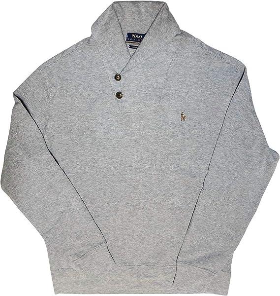 Polo RALPH LAUREN Sweater Men/'s MED Rib Grey Cotton Shawl Collar Cardigan