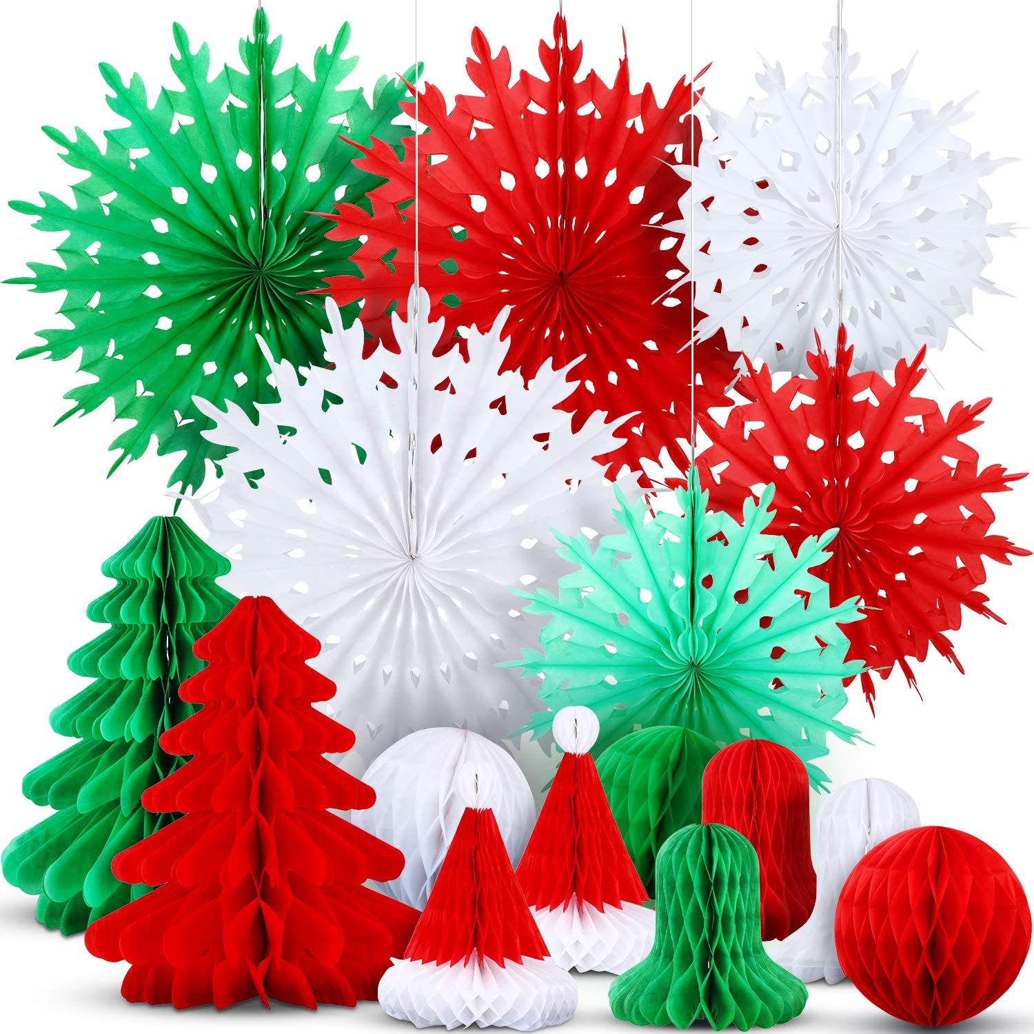 Red Christmas Bell Honeycomb Hanging Decoration Party Decor 1 Piece