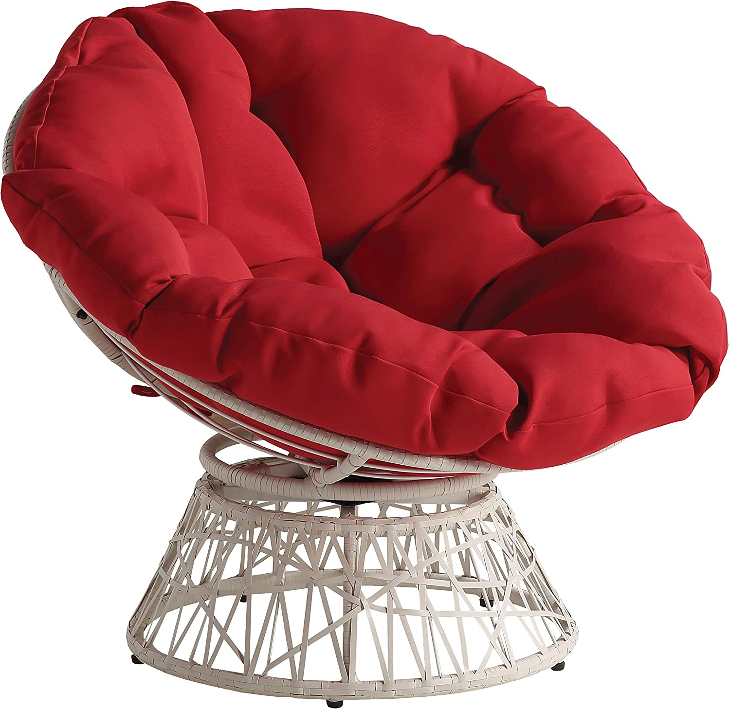 OSP Home Furnishings Wicker Papasan Chair with 360-Degree Swivel, Cream Frame with Red Cushion
