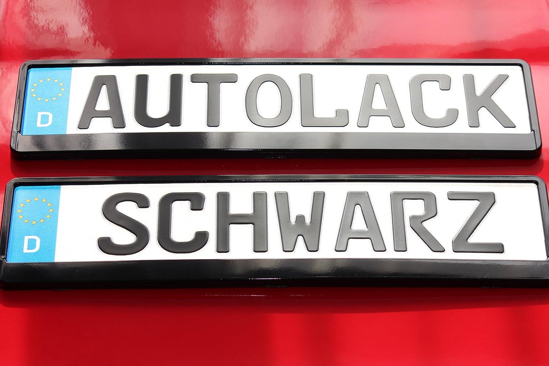 2 Kennzeichenhalter SCHWARZ MIT AUTOLACK LACKIERT ...