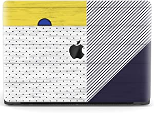Mertak Hard Case for Apple MacBook Pro 16 Air 13 inch Mac 15 Retina 12 11 2020 2019 2018 2017 Wooden White Cover Laptop Lined Plastic Polka Dot Design Touch Bar Geometry Yellow Clear Protective