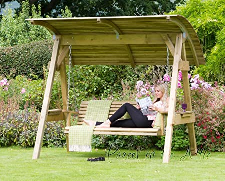 Parcel In The Attic Alicante 3 Seat Wooden Garden Swing Chair With Canopy    Hammock Bench
