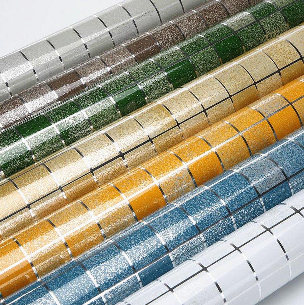 Solid Color Mosaic Self-adhensive Anti Oil Waterproof Wall Stickers Home Decor Bathroom Kitchen Backsplash Tiles 17.7''x78.7'' (Grey) by Moyishi (Image #3)