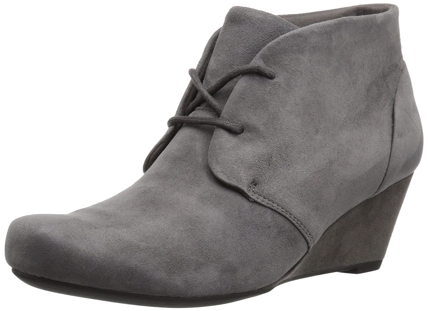 CLARKS Women's Flores Rose Ankle Bootie B01N2TBD5V 12 B(M) US|Grey Suede