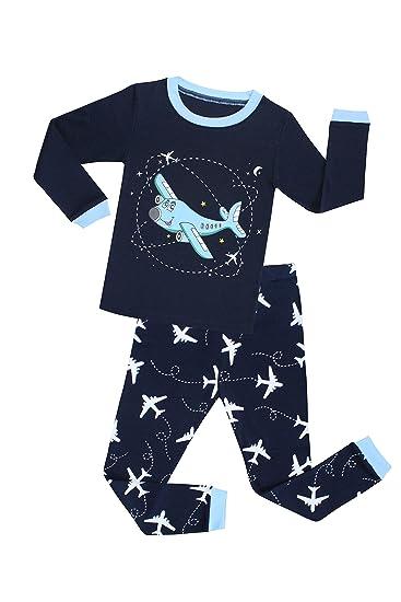 73b1432c1 Amazon.com  TinaLuLing Boys Airplane Pajamas Cotton Children ...