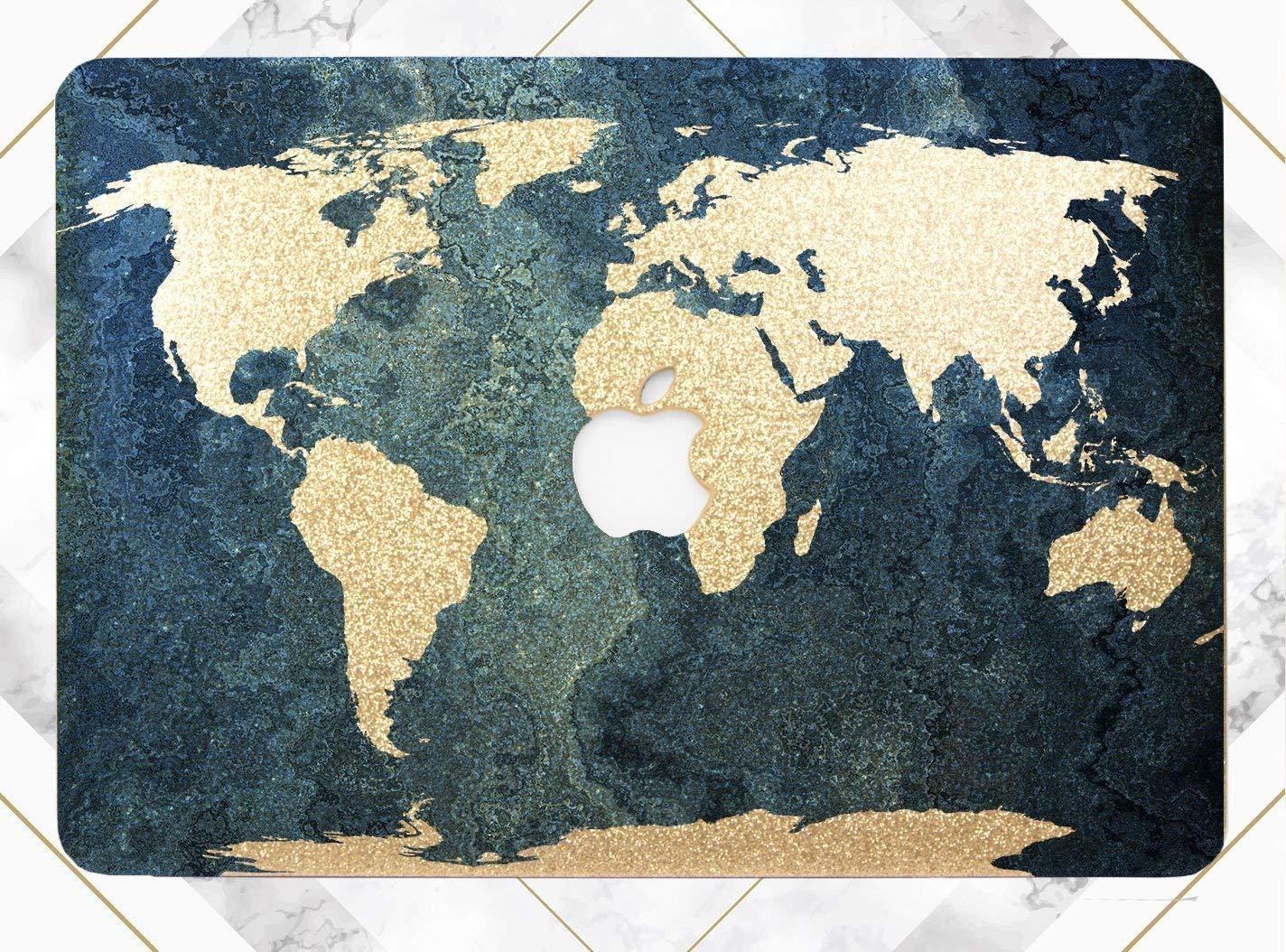B07FF79N8N Blue Ocean World Map Gold Rose Gold Hard Plastic Glitter Case Cover For Apple Macbook Air 11 13 Macbook 12 Macbook Pro 13 15 Inch 2016 2017 2018 With Retina Display Touch Bar 81BgFoDr5GL