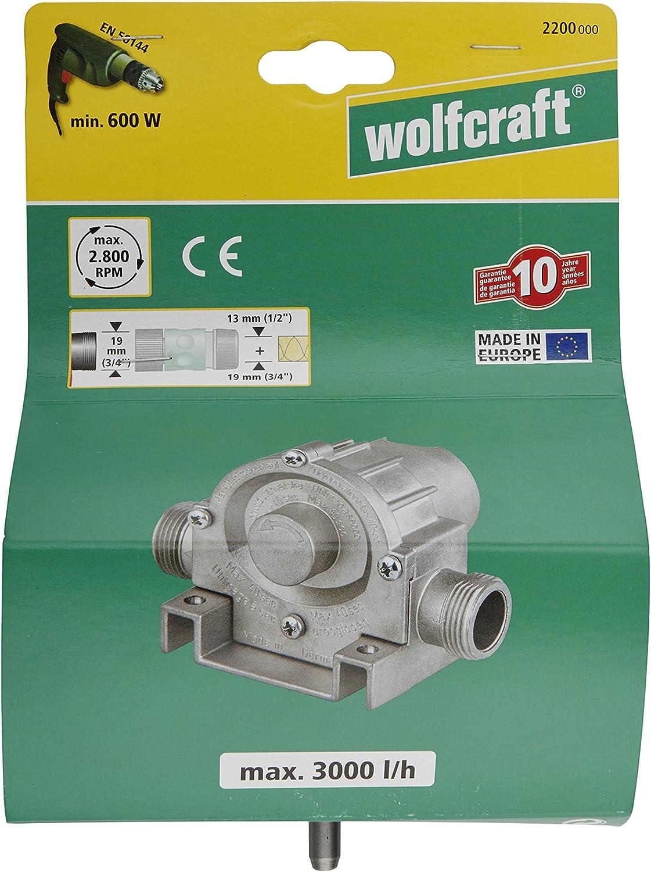 Wolfcraft 2200000 Pompe /à eau pour perceuse Bo/îtier m/étallique Puissance max de 3000 L//h