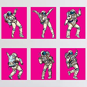 6 Female Astronauts Wall Prints - Funny Dancing Space Women Unframed 8x10 Artwork For Office Home Kid's Room | Outer Space Girly Dancers | Music Dance Prints Posters Decor | Hot Pink Printed in USA