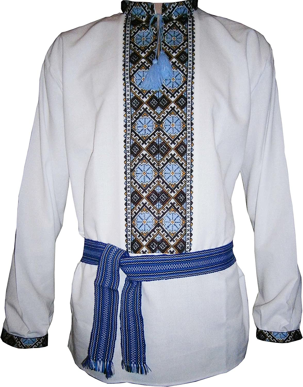 White and blue embroidered shirt Ukrainian vyshyvanka in diffucult technique handmade embroidery ethno shirt vintage sorochka