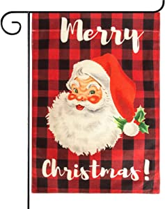 Attmu Merry Christmas Garden Flag, Santa Claus Black Red Buffalo Plaid Christmas Flag Double Sides Outdoor Wreath Seasonal Decorations 12.5 x 17.7 Inches