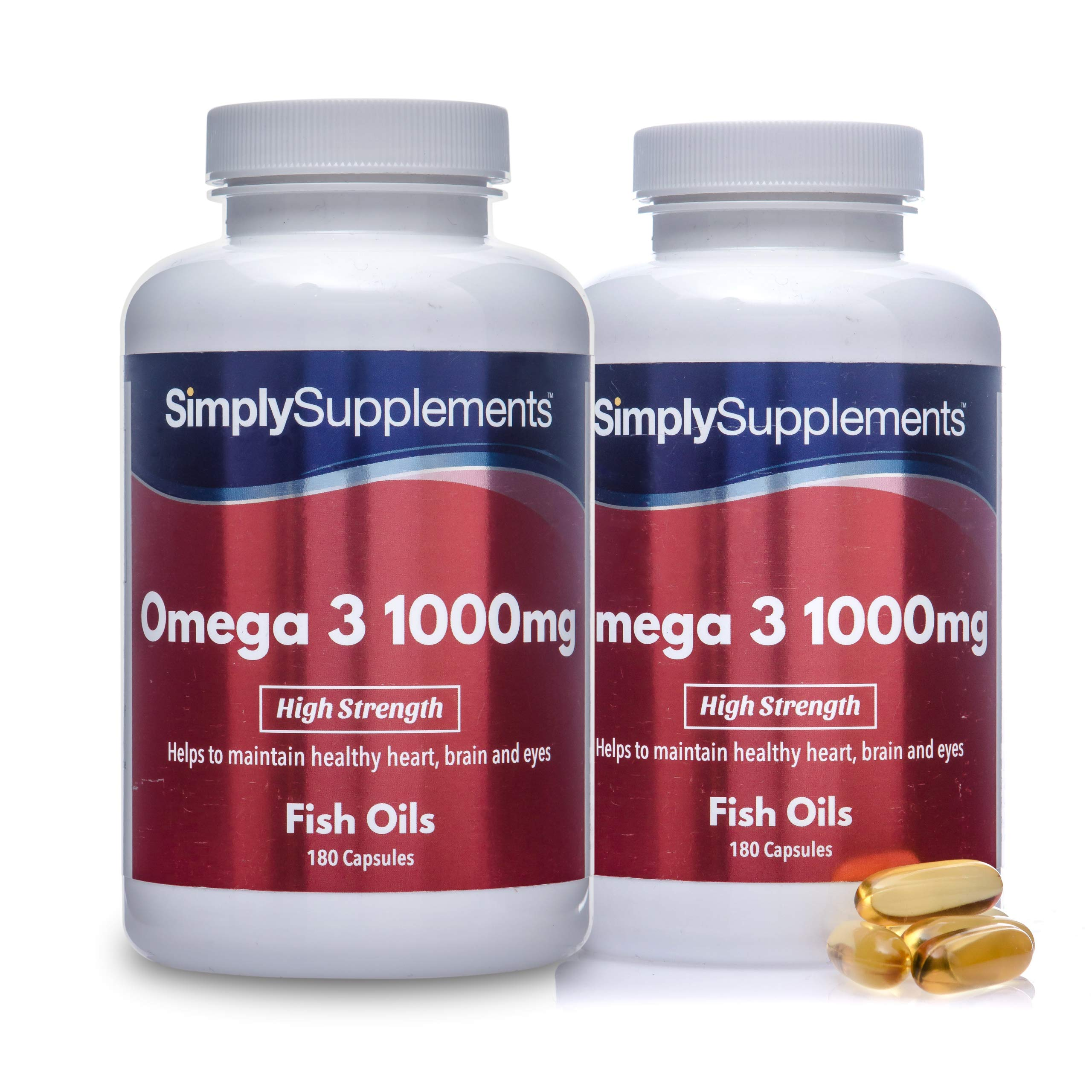 Omega 3 Fish Oil 1000mg Capsules   360 Capsules = Up to 1 Year Supply   Providing EPA & DHA   Manufactured in The UK