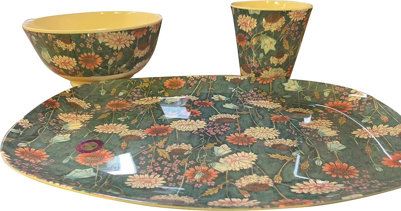 Rice Melamin Servierplatte Tablett Teller mit Herbst Blumen Muster 30 x 22 cm