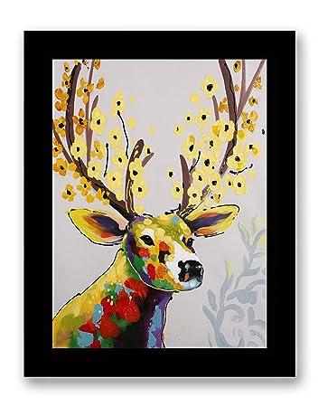 Amazon Com Art Hub Colorful Deer With Flowers Modern Pop