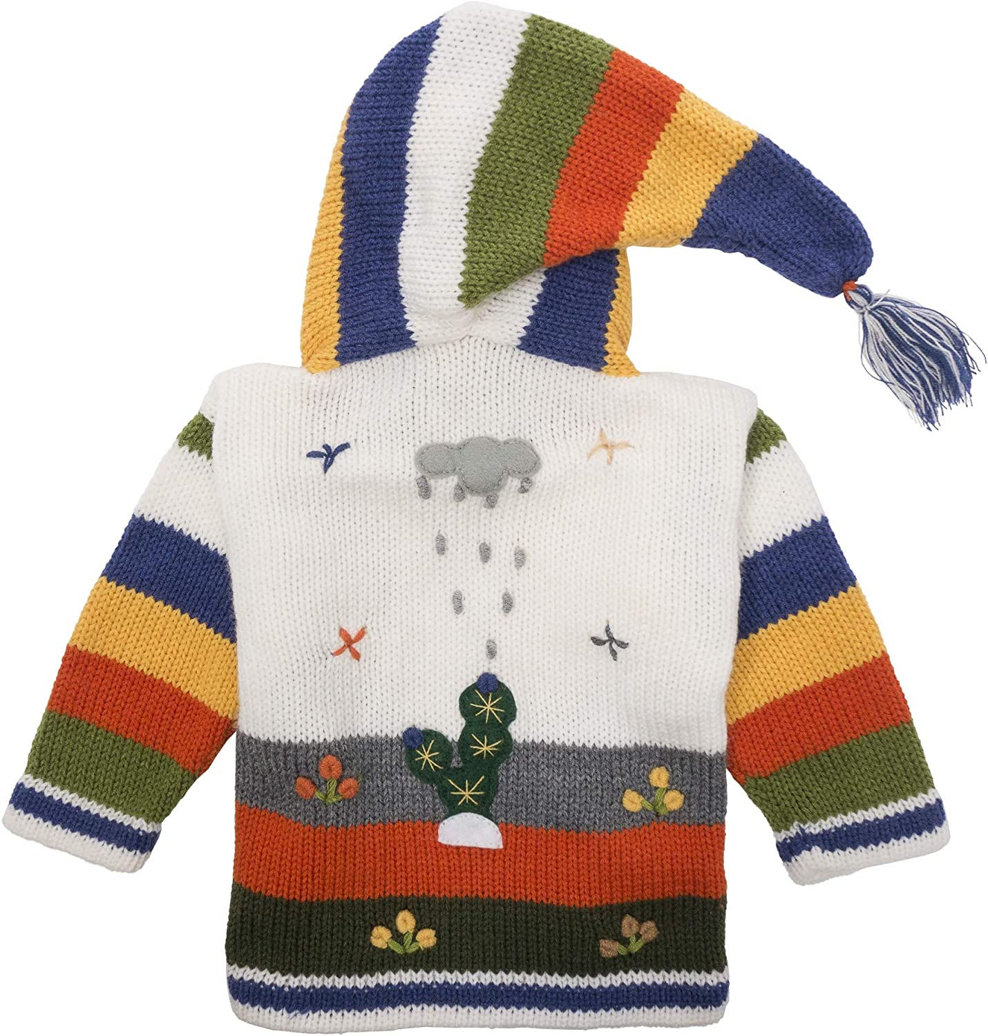 Warm 6 Year Inkita Hand Knitted Childrens White Peruvian Cardigan Made from Andean /& Sheeps Wool Made in Peru. Beautiful Pixie Hood