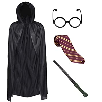 Boys Wizard World Book Day Fancy Dress Costume Outfits with Glasses Wand /& Tie