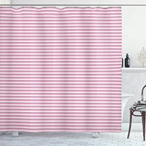 Ambesonne Geometric Shower Curtain, Striped Pattern with Pink Tones Thick and Tiny Lines Modern Illustration, Cloth Fabric Bathroom Decor Set with Hooks, 70