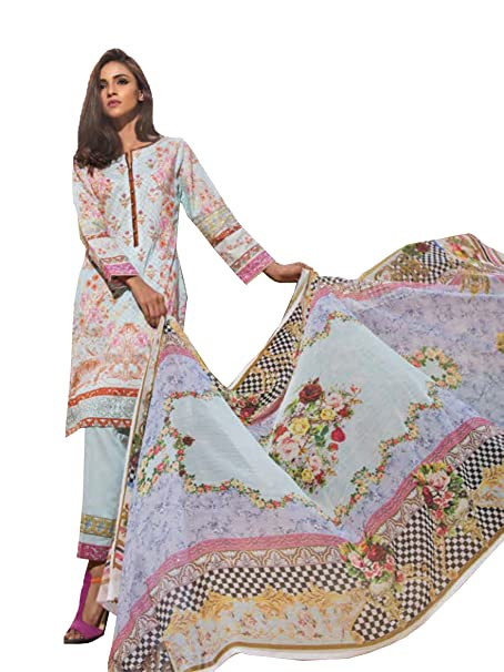 008a495991 Surkhab Impression Women's Original Pakistani Pure Lawn Cotton Embroidered  Unstitched Salwar Suit Dress Material Sky Blue (Free Size): Amazon.in:  Clothing & ...