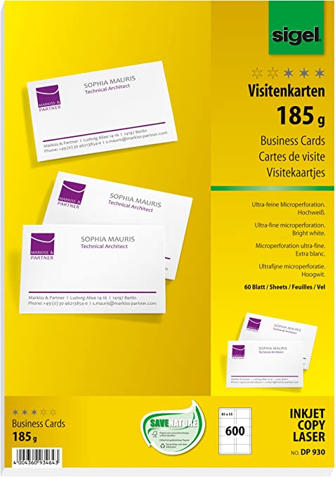 Sigel Dp930 Visitenkarten Hochweiß 600 Stück 60 Blatt 185 G 85x55 Mm Weitere Stückzahlen