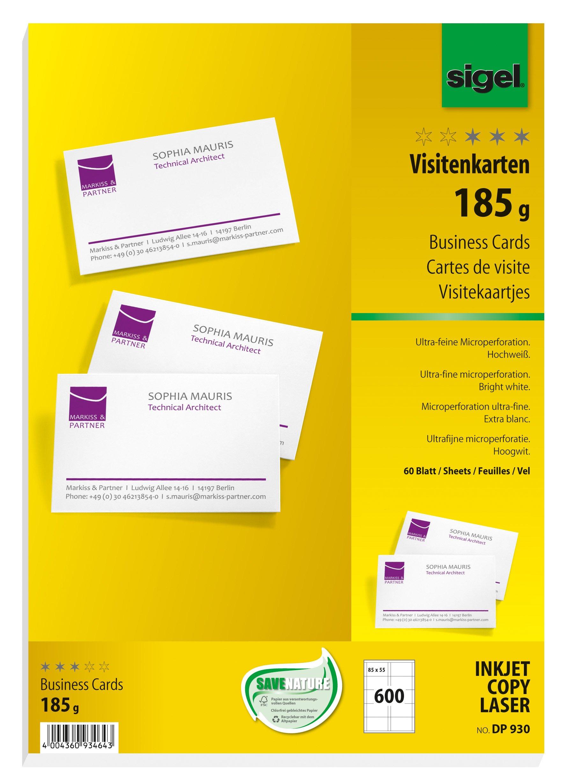 Sigel DP930 600 Tarjetas de visita precortadas, 85 x 55 mm, 185 g /