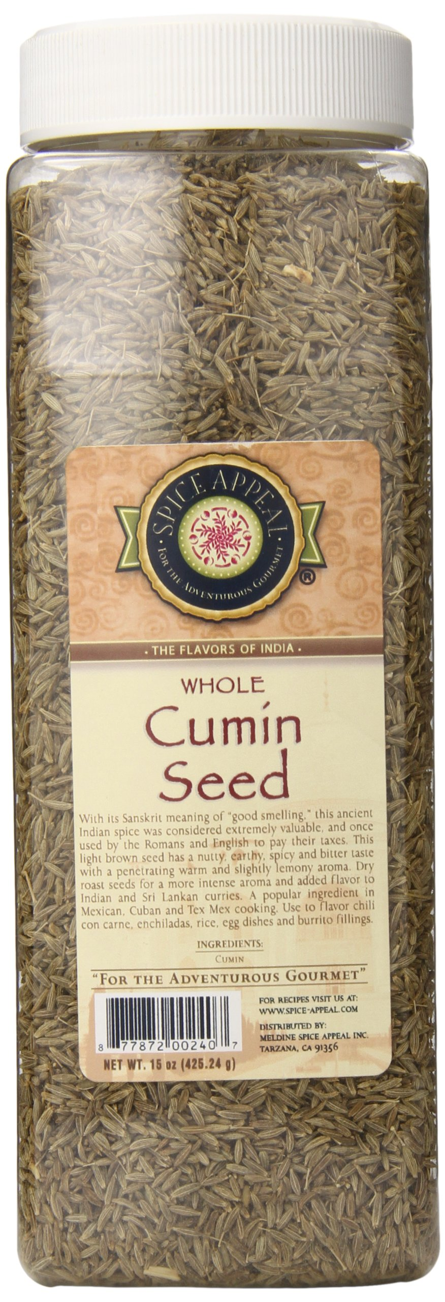 Spice Appeal Cumin Seed Whole, 15 Ounce