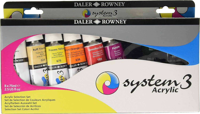 Daler Rowney Système 3 Acrylique Poignée Longue ventilateur brosses Taille 6
