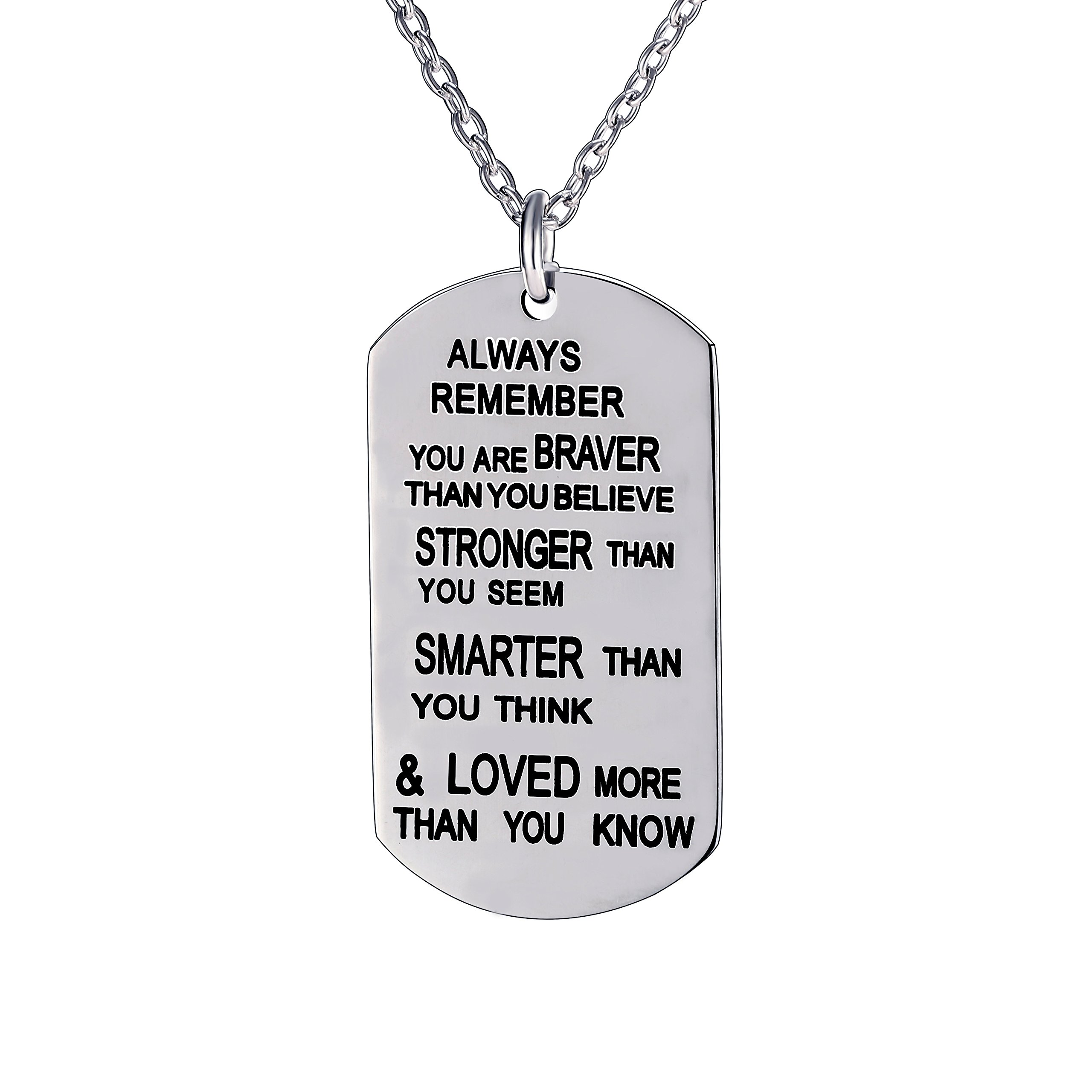 lauhonmin Always Remember You are Braver/Stronger/Smarter Than You Think Pendant Necklace Family Friend Gift Unisex(Made Stainless Steel)