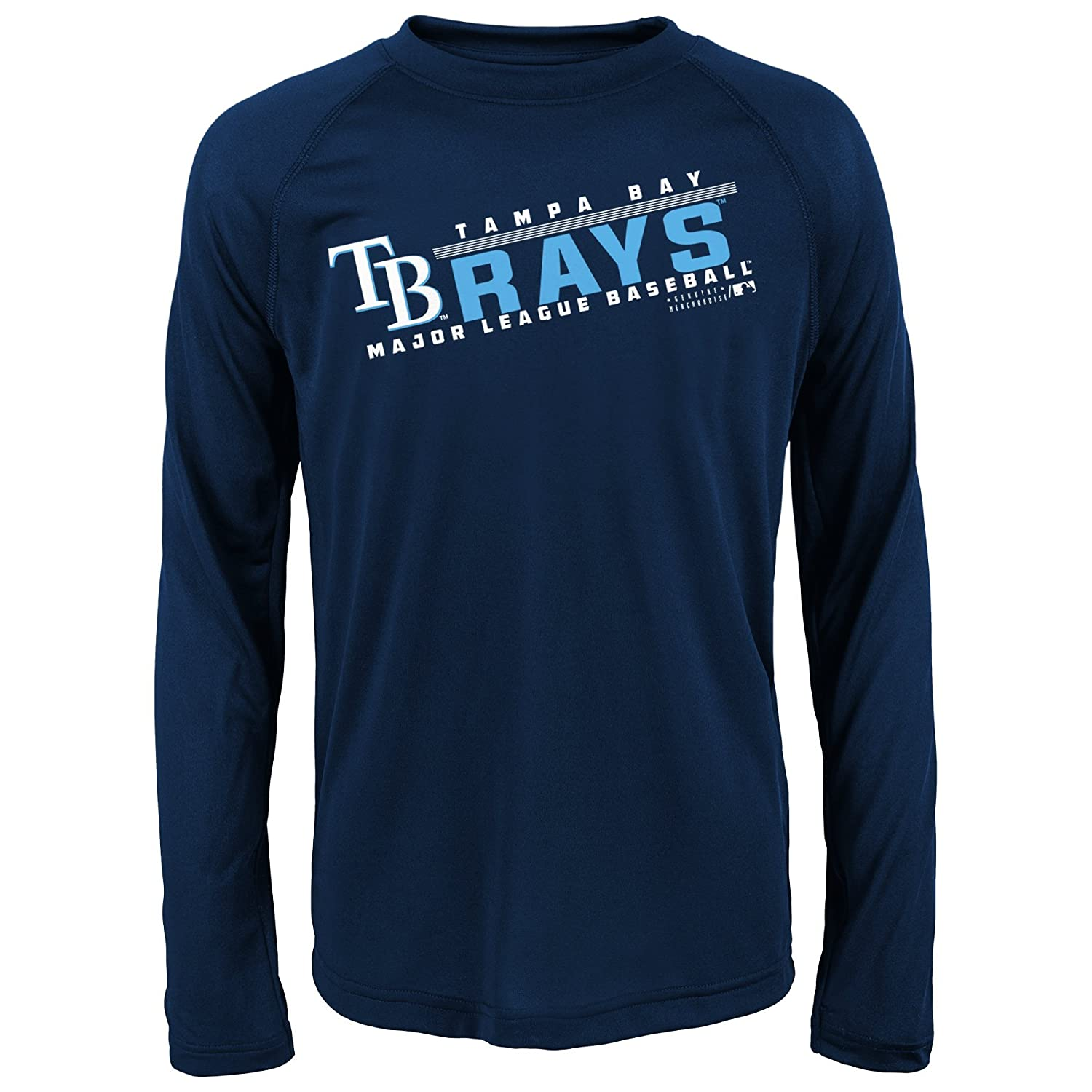 10-12 Athletic Navy MLB Youth 8-20 Rays performance Long sleeve Tee M