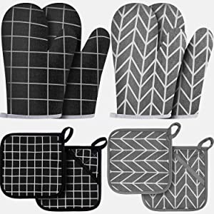 4 Sets Oven Mitts and Pot Holders, Kitchen Microwave Gloves Heat Resistant Oven Gloves and Oven Hot Mitts Pads with Non-Slip Surface Hanging Loop, Pockets for Baking Cooking Grilling