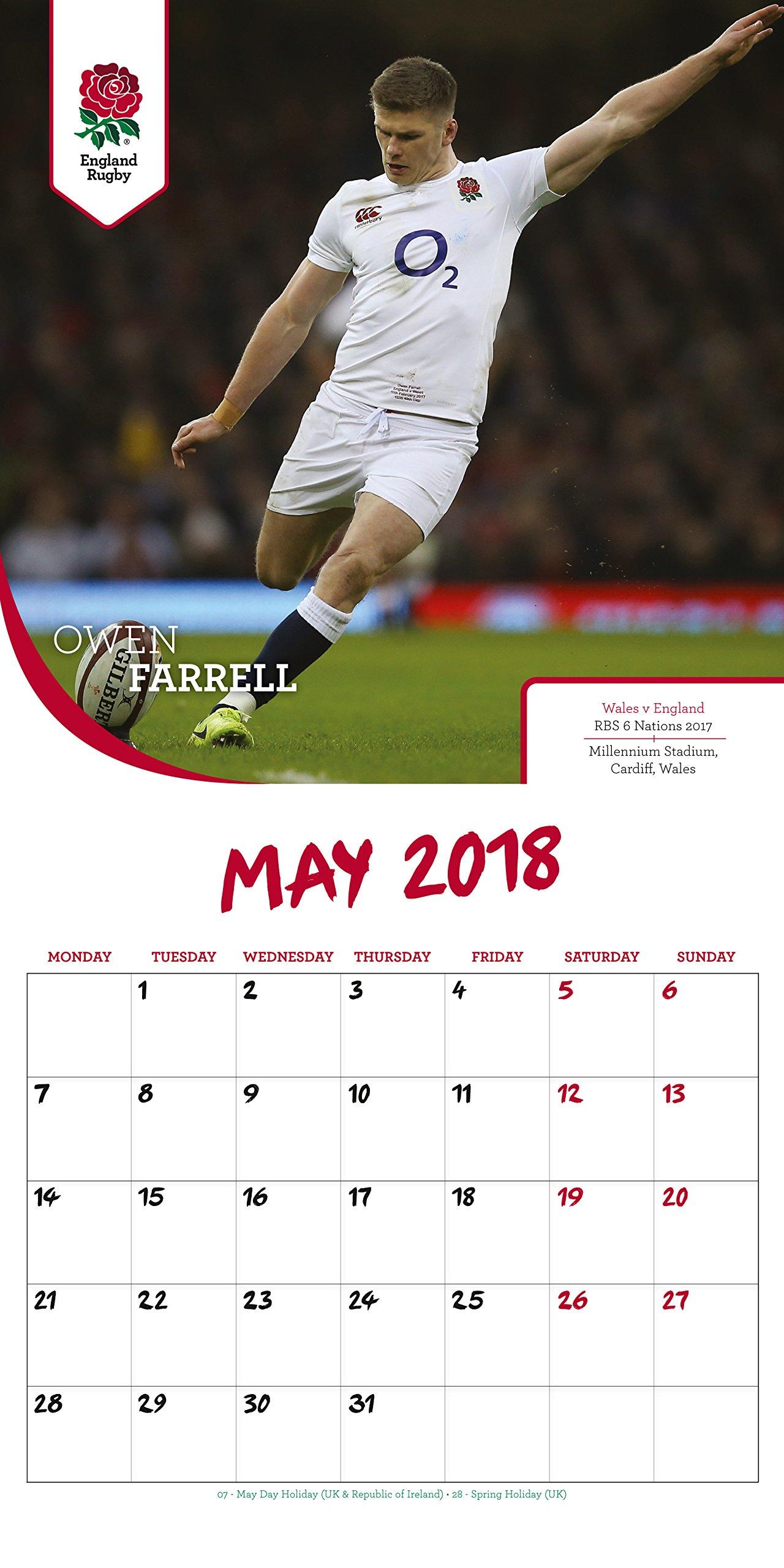 63e16eb834c England Rugby Union Official 2018 Calendar - Square Wall Format Calendar  Calendar 2018: Amazon.co.uk: England Rugby Union: Books