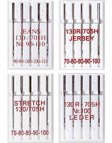 20 Agujas para máquinas de coser: jeans, jersey, stretch y cuero; 5