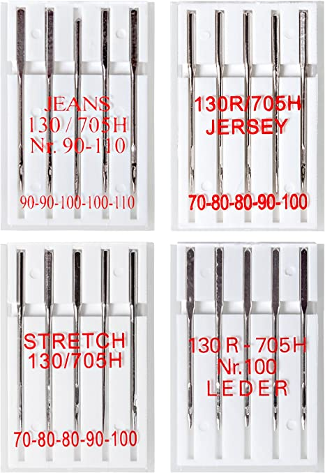 5 Nähmaschinennadeln Flachkolben 130//705 Stretch Strech